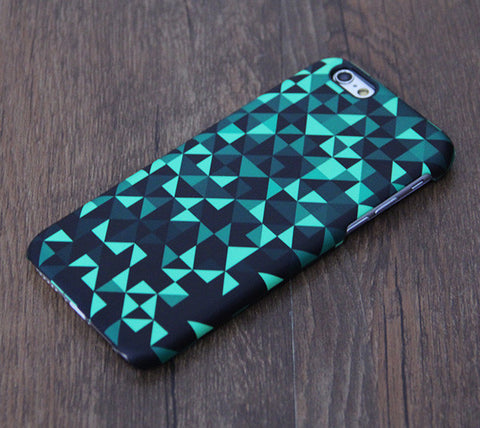 Mysterious Green And Black Geometric Pattern iPhone 6 Case/Plus/5S/5C/5/4S Dual Layer Durable Tough Case #644 - Acyc - 1