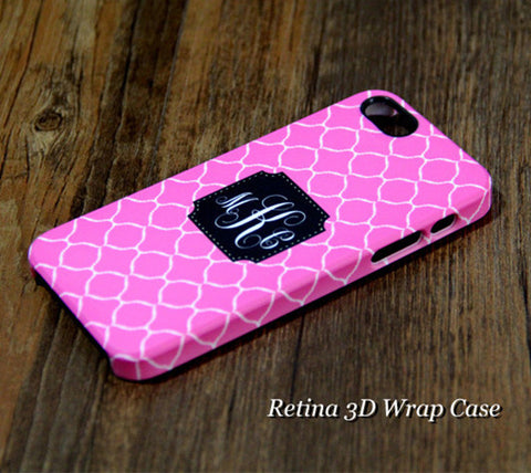 Magenta Pattern Monogram iPhone 6S Plus 6S 6 5S 5 5C 4 Dual Layer Durable Tough Case #952 - Acyc - 1