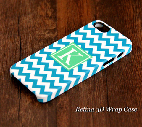 Turquoise Chevron Monogram iPhone 6S Plus 6S 6 5S 5C 5 4 Dual Layer Durable Tough Case #960 - Acyc - 1