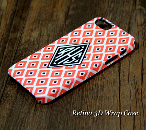Coral Geometric Monogram iPhone 6S Plus 6S 6 5S 5 5C 4 Dual Layer Durable Tough Case #970 - Acyc - 1