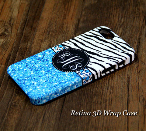 Blue Glitter Zebra Monogram iPhone 6s Plus 6 5S 5C 5 4 Dual Layer Durable Tough Case #936 - Acyc - 1