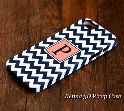 Navy Chevron Monogram iPhone 6S Plus 6S 6 5S 5C 5 4 Dual Layer Durable Tough Case #949 - Acyc - 1