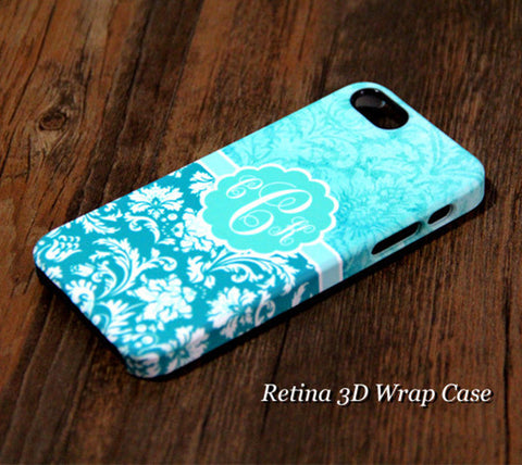 Turquoise Damask Monogram iPhone 6S Plus 6S 6 5S 5 5C 4 Dual Layer Durable Tough Case #951 - Acyc - 1