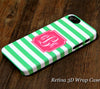 Green Striped Monogram iPhone 6S 6 Plus 6S 5S 5C 5 4 Dual Layer Durable Tough Case #968 - Acyc - 1