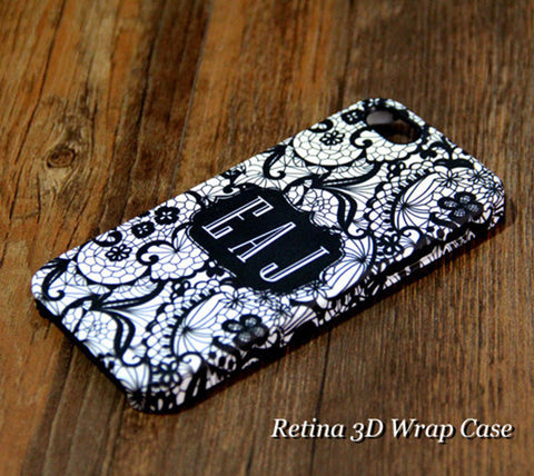 Lace Floral Pattern Monogram iPhone 6S Plus 6S 6 5S 5C 5 4 Dual Layer Durable Tough Case #925 - Acyc - 1