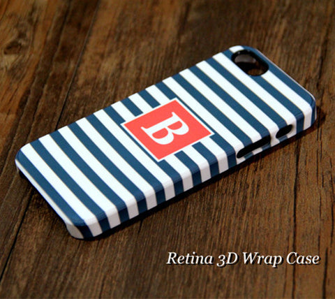 Navy Stripes Monogram iPhone 6S Plus 6S 6 5S 5C 5 4 Dual Layer Durable Tough Case #957 - Acyc - 1