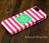 Pink Stripes Monogram iPhone 6S Plus 6S 6 5S 5C 5 4 Dual Layer Durable Tough Case #953 - Acyc - 1