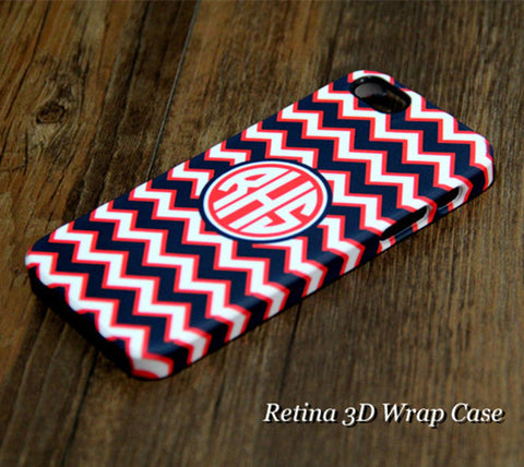 Navy Chevron Monogram iPhone 6S Plus 6S 6 5S 5C 5 4 Dual Layer Durable Tough Case #956 - Acyc - 1