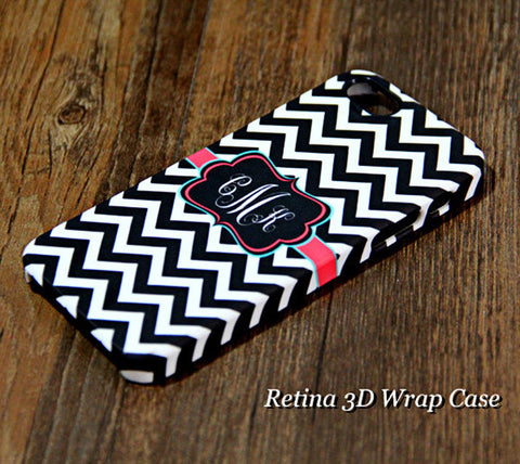 Classic Black Chevron Monogram Tough iPhone 6s Plus 6 5S 5 5C Clear Rubber Case#929 - Acyc - 1