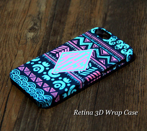 Tribal Ethnic Turquoise Striped Monogram iPhone 6S Plus 6S 6 5S 5C 5 4 Dual-Layer Rubber Tough Case #926 - Acyc - 1