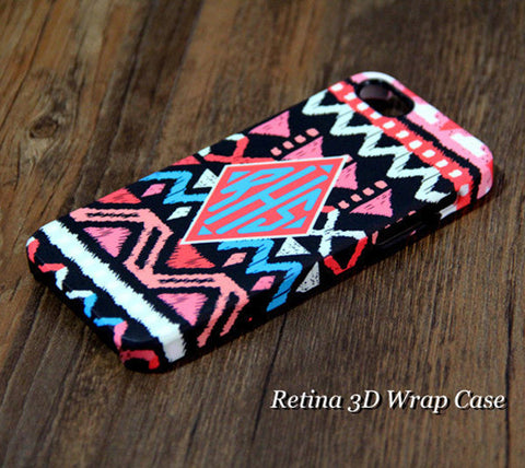 Coral Pink Ethnic Striped Monogram Tough iPhone 6s 6 Plus 5S 5C Plus Clear Rubber Case #967 - Acyc - 1