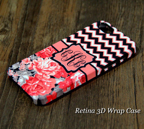 Coral Black Chevron Floral Monogram iPhone 6S Plus 6S 6 5S 5 5C Dual Layer Clear Rubber Tough  Case #922 - Acyc - 1