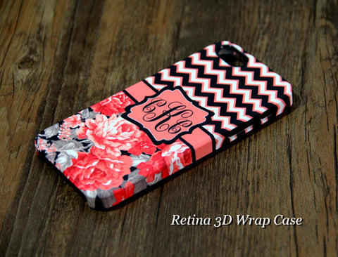 Chevron Floral Monogram iPhone 6s Plus 6 5S 5C 5 4 Protective Case  922 - Acyc - 1