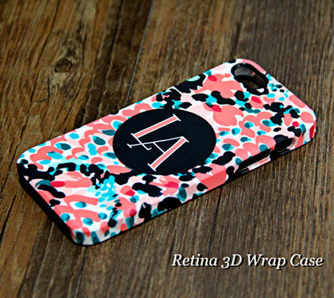 Coral Print Black Monogram Tough iPhone 6s Plus 6s 5S 5 5C 4  Clear Rubber Case #932 - Acyc - 1