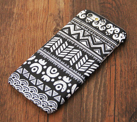 Classic Black White Tribal Ethnic Tough Pattern iPhone 6s Case/Plus/5S/5C/SE Dual Layer  Protective Case #703 - Acyc - 1
