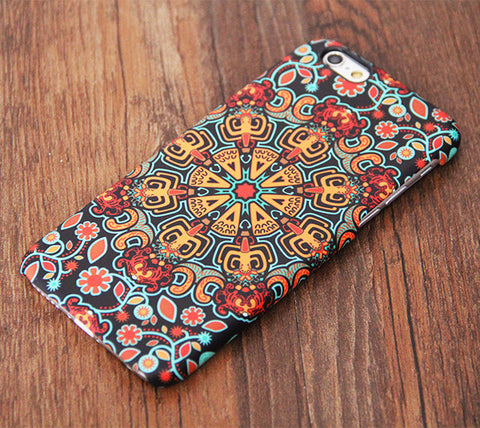 Native Ethnic Floral Pattern Tough iPhone 6s Case/Plus/5S/5C/5/SE Protective Case #702 - Acyc - 1