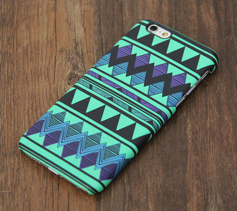 Turquoise Green and Black Aztec Design Tough iPhone 6s Case/6 Plus/5S/5C/5/SE Protective Case #725 - Acyc - 1