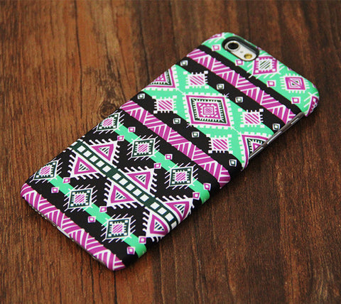 Pink and Green Aztec Pattern iPhone 6s Plus 6 5S 5C 5 4 Dual Layer Tough Case #727 - Acyc - 1