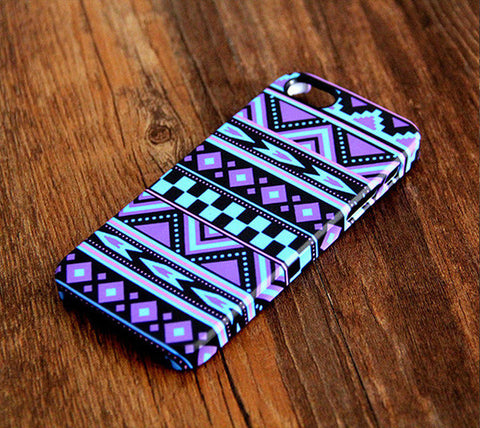 Turquoise Violet Aztec Ethnic iPhone 6S/6 Plus 5S 5C 5 4 Dual Layer Clear Rubber Tough Case #347 - Acyc - 1