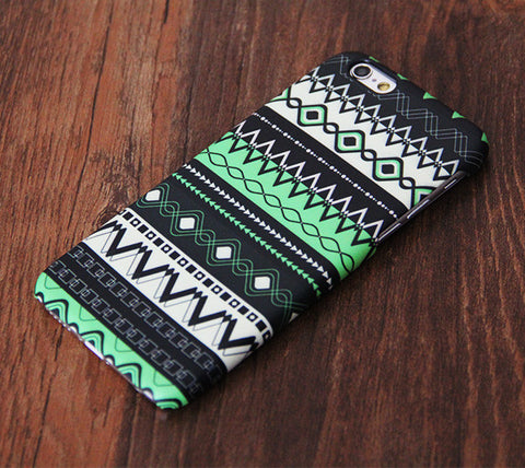 Green Aztec Pattern iPhone 6s Plus 6s 5S 5C 5 4 Dual Layer Durable Tough Case #753 - Acyc - 1