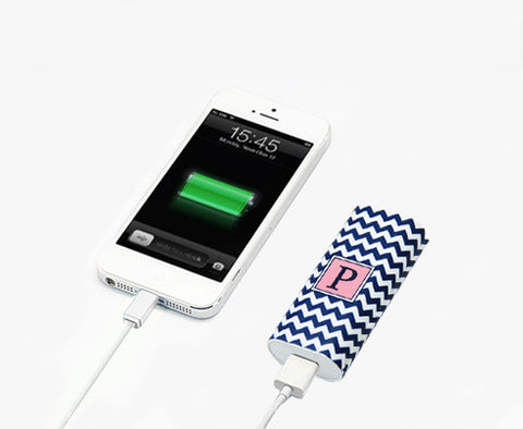 Teen Girls Fashion Gift Gadgets Chevron Monogram Portable Power Bank Battery Charger for iPhone and Samsung - Acyc - 1