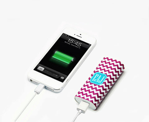 Girls Fashion Teen Gift Light Magenta Chevron Monogram Portable Power Bank Battery Charger for iPhone and Samsung - Acyc - 1