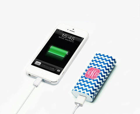 True Blue Chevron Monogram Portable Power Bank Battery Charger for iPhone 6S 6 and Samsung - Acyc - 1