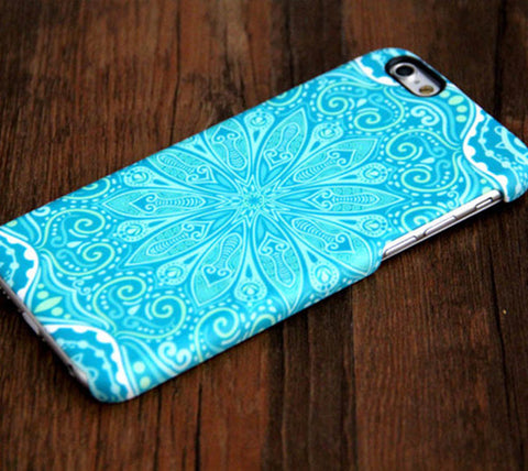 Teal Floral iPhone iPhone 6s 6 Plus 6 5S 5C 5 4 Dual Layer Tough Case #175 - Acyc - 1