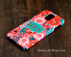 Red Floral Monogram Samsung Galaxy S6 Edge Plus/S6 Edge / S6/ S5/Note 5/Note 4  Protective Case - Acyc - 1
