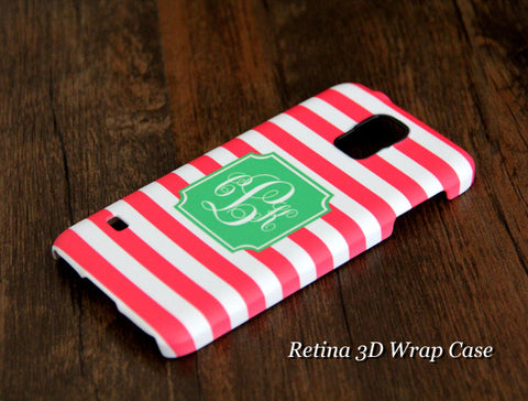 Teen Pink Stripes Monogram Samsung Galaxy S6 Edge Plus/S6 Edge / S6/ S5/Note 5/Note 4 2 Protective Case - Acyc - 1