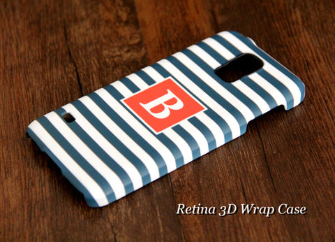 Navy Blue Stripes Monogram Samsung Galaxy S6 Edge Plus/S6 Edge / S6/ S5/Note 5/Note 4  Protective Case - Acyc - 1