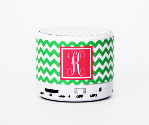 Fashion Girls Team Gifts Green Chevron Custom Monogram Wireless Bluetooth Mini iPhone Speaker - Acyc - 1