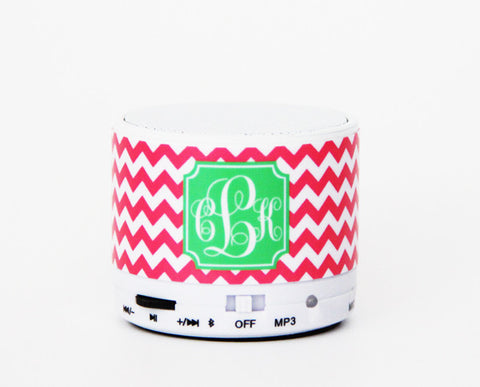 Teen Girls Gifts Ideas Pink Chevron Custom Monogram Wireless Bluetooth Mini Speaker - Acyc - 1