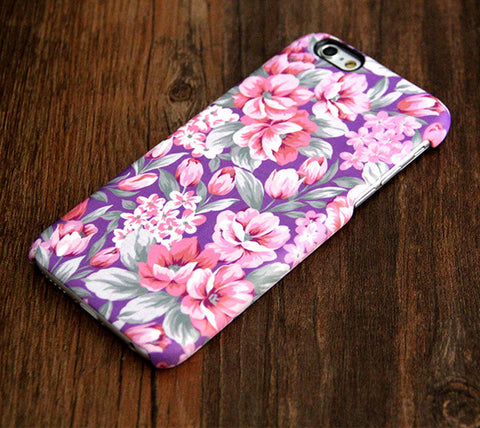 Violet Pink Floral Pattern iPhone 6s Plus/6/5S/5C/5/4S/4 Dual Layer clear rubber Tough Case #417 - Acyc - 1