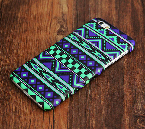 Green And Violet Aztec Ethnic iPhone 6s Plus 6 5S 5C 5  Dual Layer Durable Tough  Case #444 - Acyc - 1