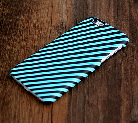 Turquoise Stripes Tough iPhone 6s Plus/6/5S/5C/5/SE Protective Case #398 - Acyc - 1