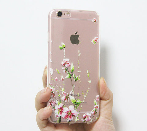 PinkFloral iPhone 6s 6 Clear Case Crystal iPhone 6 plus Transparent case Soft TPU - Acyc - 1
