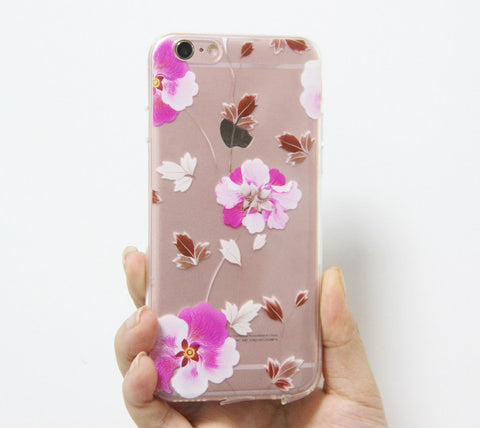 Elegant Flowers iPhone 6s 6 Clear Case Crystal iPhone 6 plus Transparent case Soft TPU - Acyc - 1
