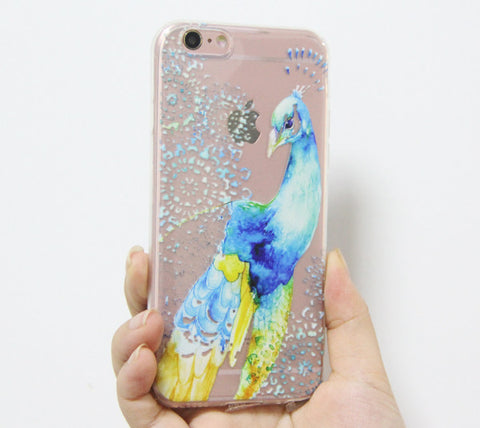 Abstracrt Blue Peacock iPhone 6s 6 Clear Case iPhone 6 plus Transparent case - Acyc - 1