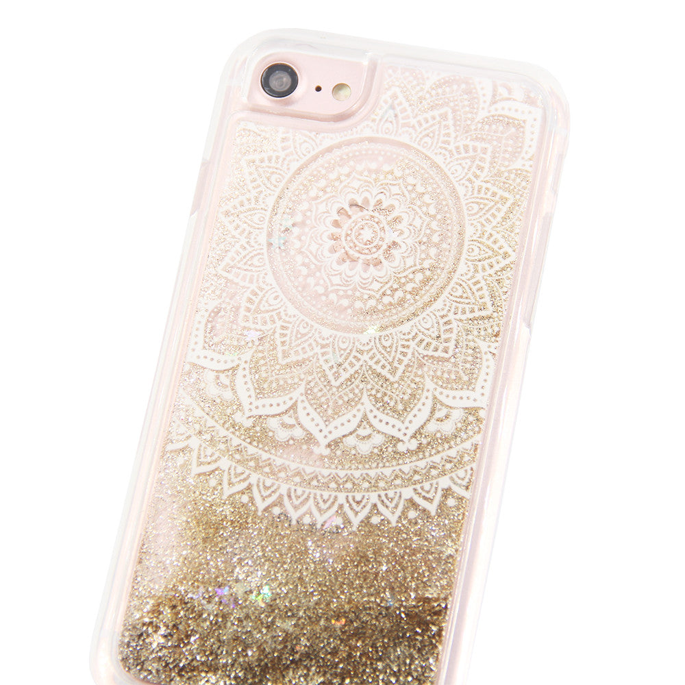 Gold Glitter Damask Floral Waterfall Clear Protective iPhone 6S 6 7 Case fd6901002
