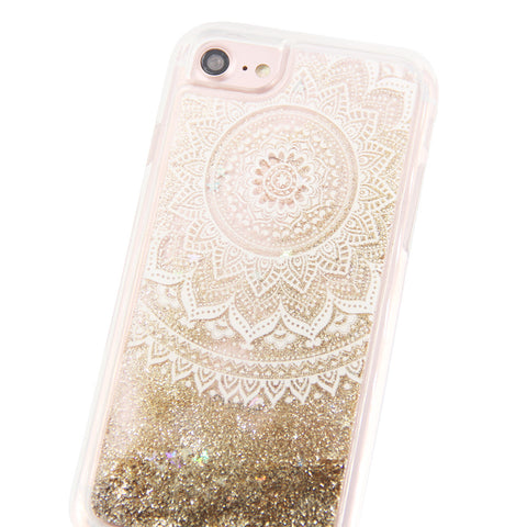 Gold Glitter Damask Floral Waterfall Clear Protective iPhone 6S/6/7 Case