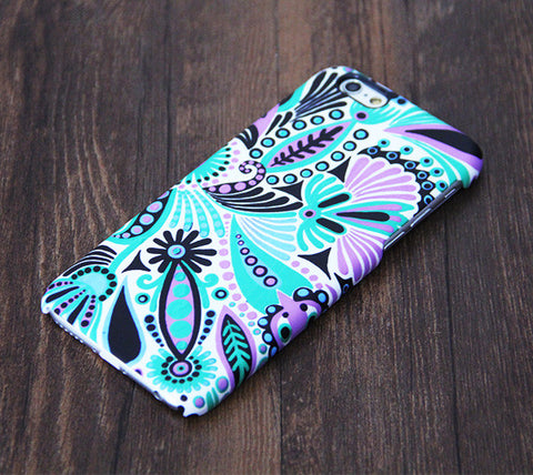 Turquoise Green Floral iPhone 6s Plus/6/5S/5C/5/4S/4 Dual Layer Durable Tough Case #548 - Acyc - 1