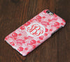 Pink and White floral pattern monogram iPhone 6S 6 Plus 5S 5 5C Dual Layer Durable Tough Case #998 - Acyc - 1