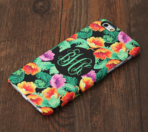 Abstract floral pattern monogram iPhone 6s 6 Plus 5S 5 5C Dual Layer Durable Tough Case #997 - Acyc - 1