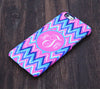 Monogram Abstract Pink and Blue Chevron iPhone 6S Plus 6S 6 5S 5 5C 4 Dual Layer Durable Tough Case #1002 - Acyc - 1