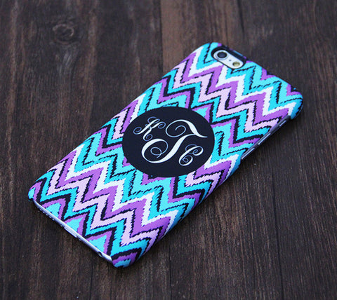 Monogram Abstract Turquoise and Violet Chevron iPhone 6S Plus 6S 6 5S 5 5C 4 Dual Layer Durable Tough Case #1003 - Acyc - 1