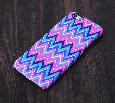 Abstract Pink Blue Chevron Design iPhone 6s Case/Plus/5S/5C/5/4S Tough Case #602 - Acyc - 1