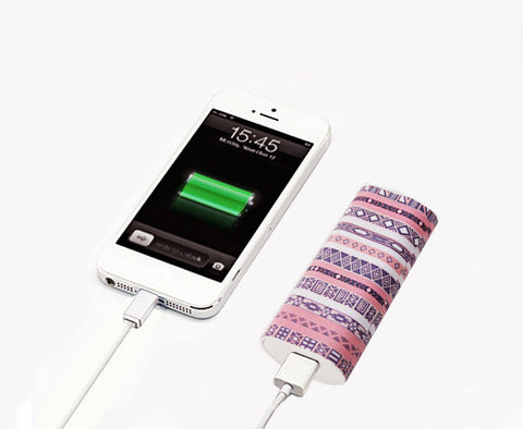 Pink Ethnic White Stripes Power Bank Charger for iPhone and Samsung - Acyc