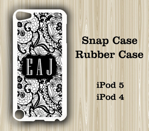 Lace Black and White Monogram iPod Touch 5 Case iPod Touch 4 Case - Acyc - 1