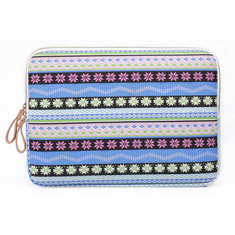 "Blue Snowflake Style Canvas Fabric Computer Sleeve Bag Case for Macbook Laptop 10'"" 11"" 12"" 13"" 14"" 15"" - Acyc - 1"